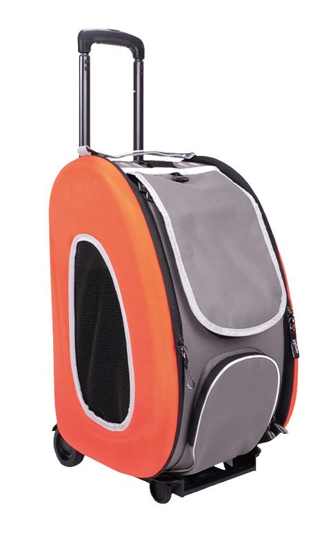 Сумка-тележка складная 3 в 1 для животных до 8 кг (сумка, рюкзак, тележка) оранжевая Ibiyaya (1 шт)