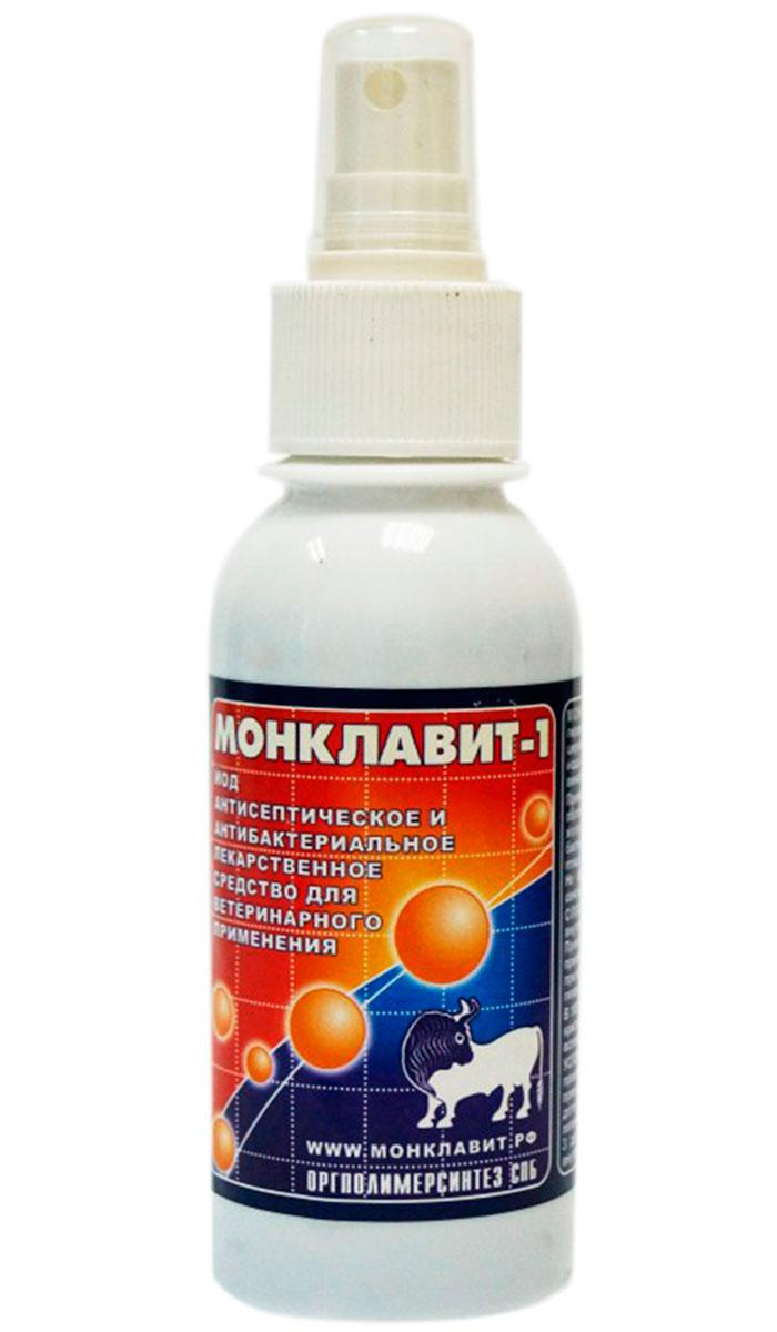 монклавит-1 антисептический лекарственное средство для животных на основе йода спрей 130 мл (1 шт)