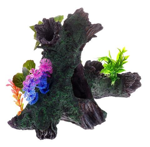 Декор грот для аквариума Коряга с растением, 34,5 х 17 х 25,5 см, Barbus, Decor 038 (1 шт)