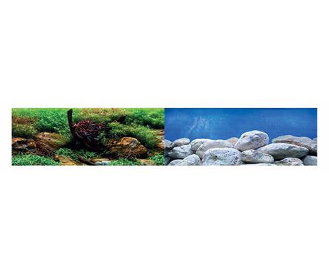 Аквариумный фон плотный двухсторонний Barbus Водный сад/Яркие камни 45 см/94 см Background 017 (1 шт)