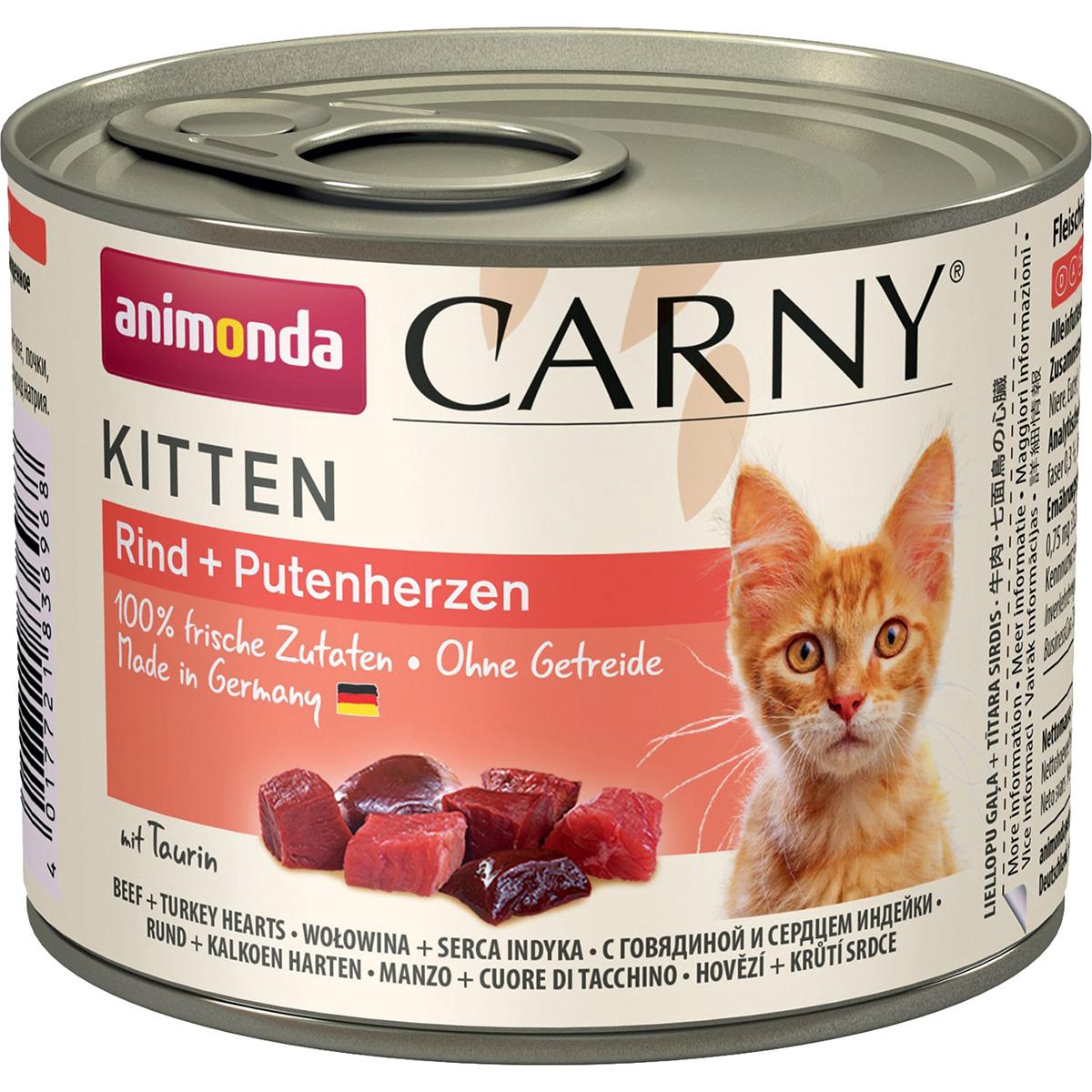 корм для котят animonda carny kitten говядина сердце индейки конс 200г Animonda Carny Kitten Rind & Putenherzen для котят с говядиной и сердцем индейки 200 гр (200 гр)