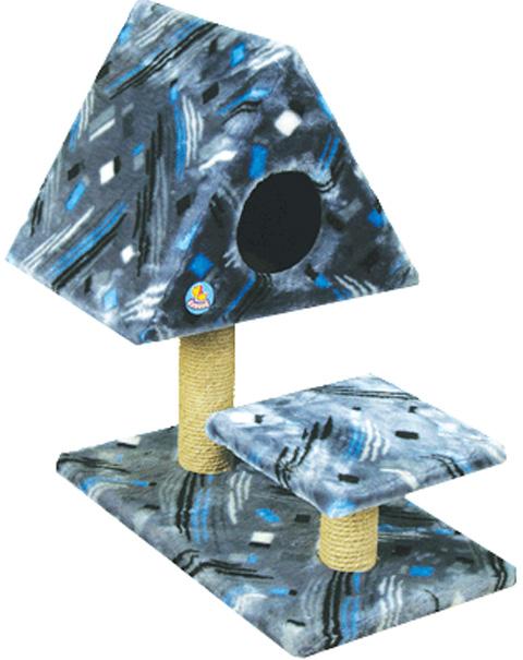 Дом для кошек треугольный Зооник цветной мех 53 х 80 х 78 см (1 шт)