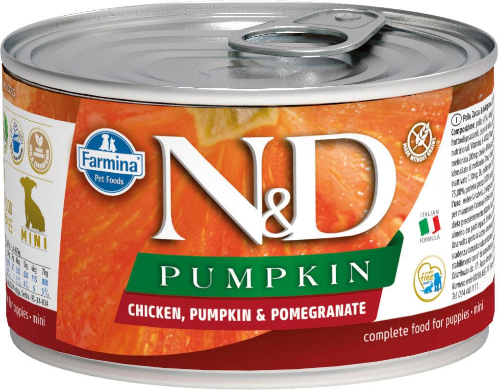 Farmina Dog N&d Puppy Mini Chicken, Pumpkin & Pomegranate беззерновые для щенков маленьких пород с  курицей, тыквой и гранатом 140 гр (140 гр х 6 шт)