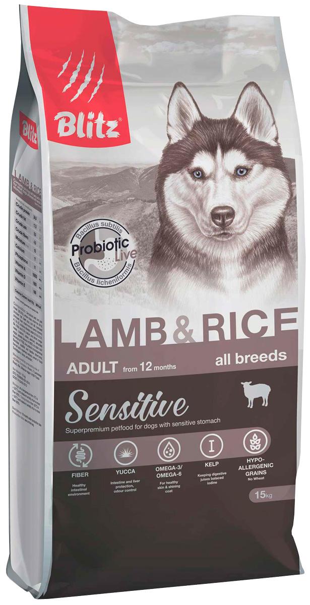 Blitz Adult All Breeds Sensitive Lamb & Rice для взрослых собак всех пород с ягненком и рисом (15 + 15 кг)