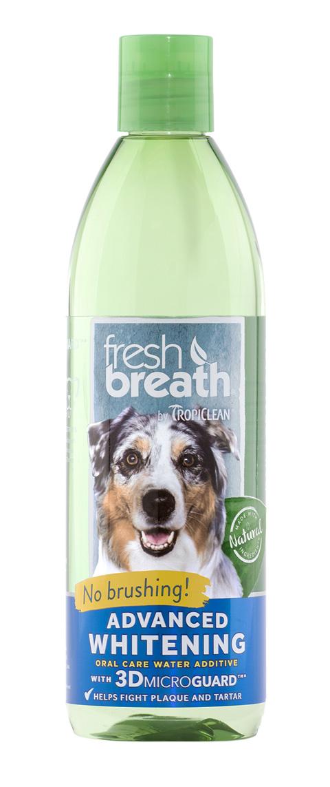 Tropiclean Fresh Breath Water Additive Advanced Whitening зубной ополаскиватель для собак Свежее дыхание (473 мл).