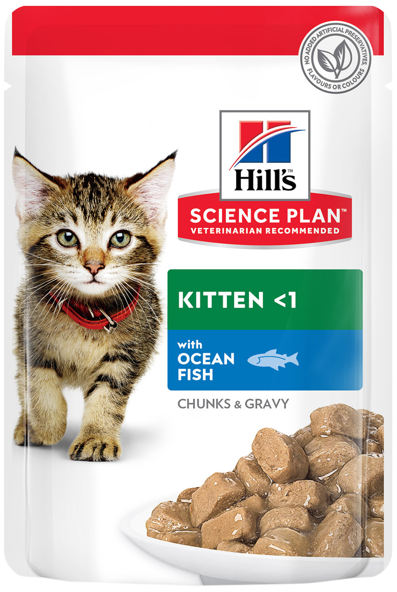 Hill's Science Plan Feline Kitten Ocean Fish для котят с рыбой в соусе 85 гр (85 гр х 12 шт)