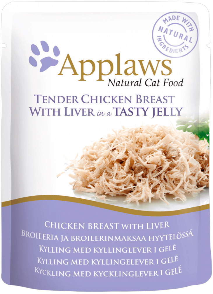 Applaws для взрослых кошек с кусочками курицы и печенью в желе 70 гр (70 гр х 16 шт)