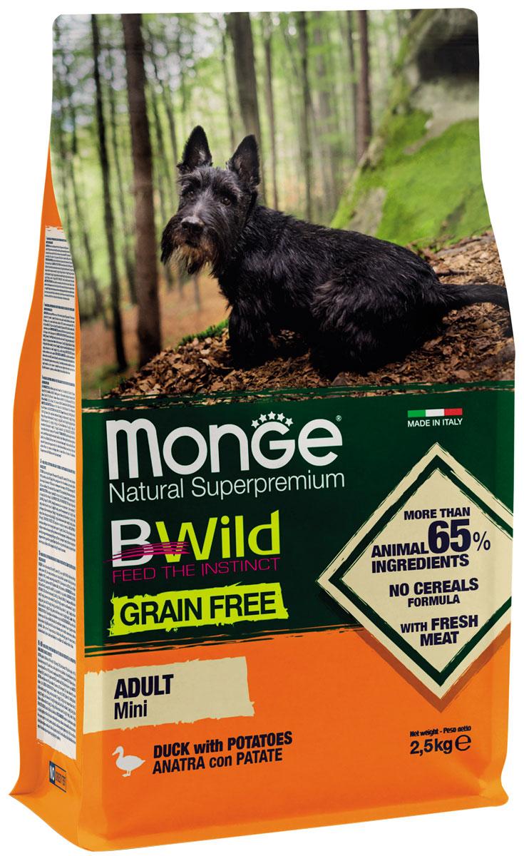 Monge Bwild Dog Adult Mini Grain Free беззерновой для взрослых собак маленьких пород с уткой и картофелем (2,5 + 2,5 кг)