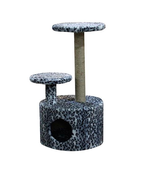 Домик Круглый со ступенькой Пушок мех серый леопард (1 шт)