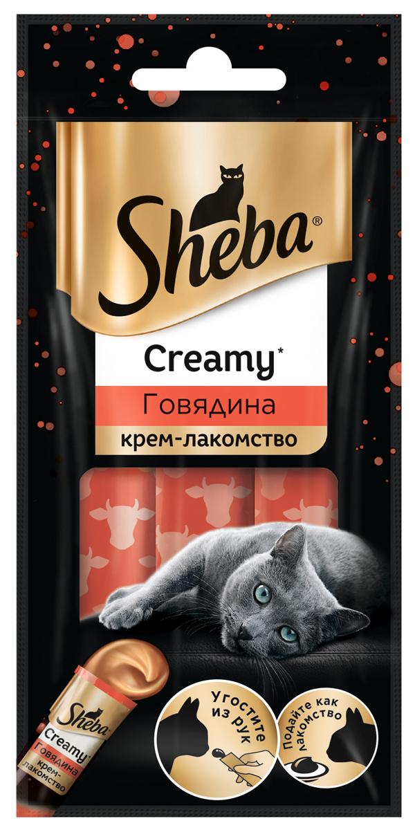Sheba Creamy для кошек крем-лакомство с говядиной 3 шт (1 уп) sheba creamy для кошек крем лакомство с курицей 3 шт 1 уп