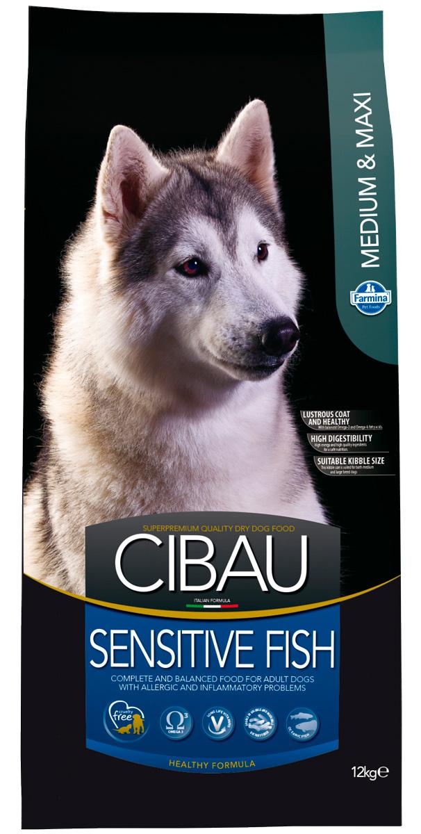 Cibau Sensitive Fish Medium/maxi для взрослых собак средних и крупных пород при аллергии с рыбой (12 кг)