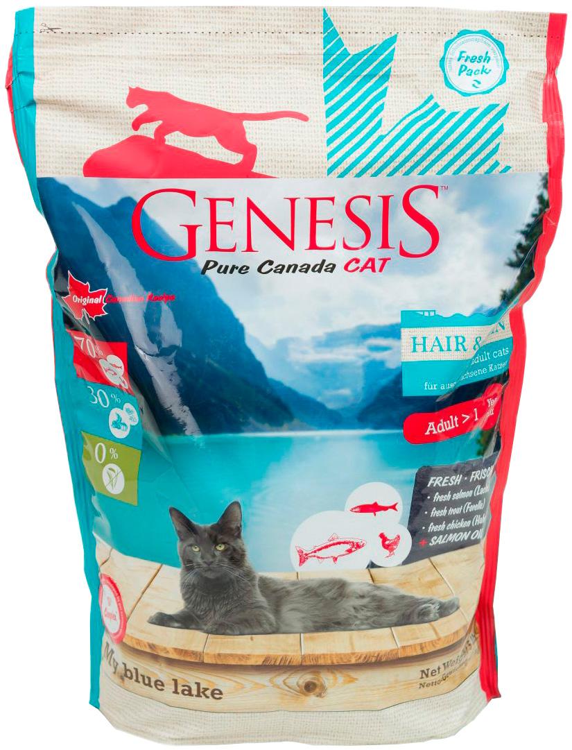Genesis Pure Canada My Blue Lake Hair & Skin беззерновой для взрослых кошек при аллергии с лососем, форелью и курицей (2,268 кг)