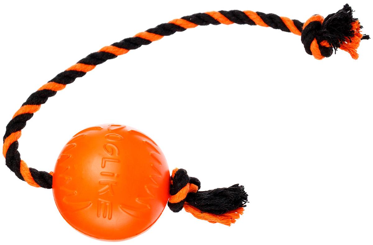 Мяч с канатом для собак малый Doglike оранжевый/черный (1 шт)