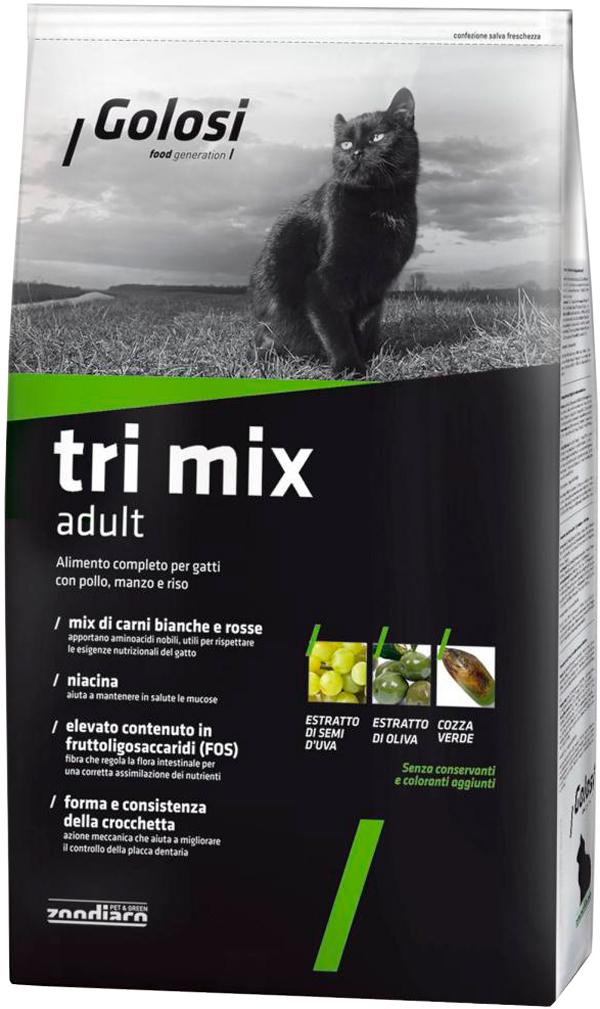 Golosi Tri Mix для взрослых кошек с курицей, говядиной и рисом (20 кг) сухой корм для кошек golosi с курицей с рисом 20 кг