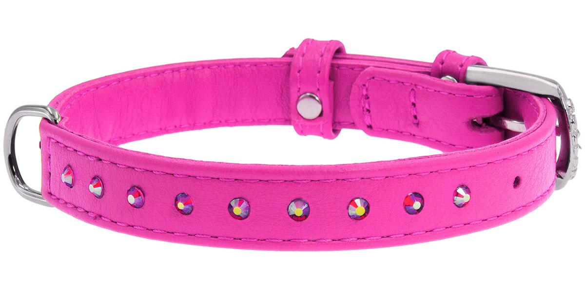 Ошейник кожаный для собак с клеевыми стразами розовый 12 мм 21 - 29 см Collar WauDog Glamour (1 шт) ошейник collar glamour с клеевыми стразами цветочек ширина 12мм длина 21 29см лайм для собак 32695