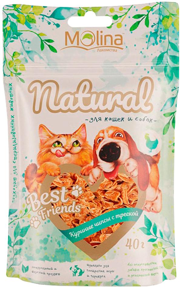 Лакомство Molina Natural Best Friends для собак и кошек чипсы куриные с треской 40 гр (1 шт)