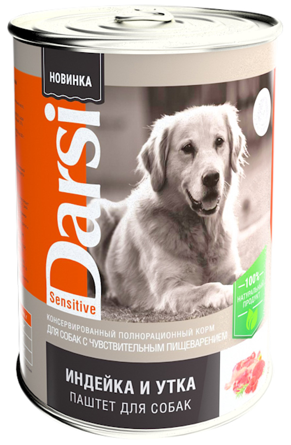Darsi Sensitive Dog для взрослых собак с чувствительным пищеварением паштет с индейкой и уткой 410 гр (410 гр)