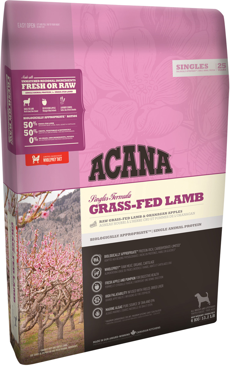 Acana Singles Grass-fed Lamb монобелковый для собак и щенков всех пород с ягненком (17 кг)