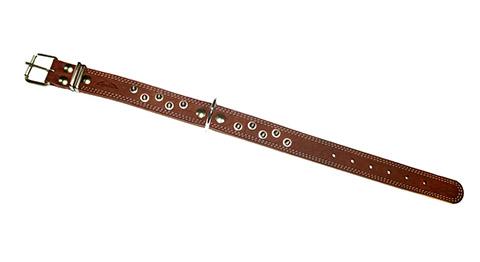 Ошейник для собак кожаный с шипами коньячный 52 - 70 см х 35 мм Аркон (1 шт)