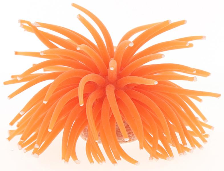 Декор для аквариума Коралл силиконовый Vitality на керамической основе оранжевый 13 х 13 х 10 см Rt172lor (1 шт)
