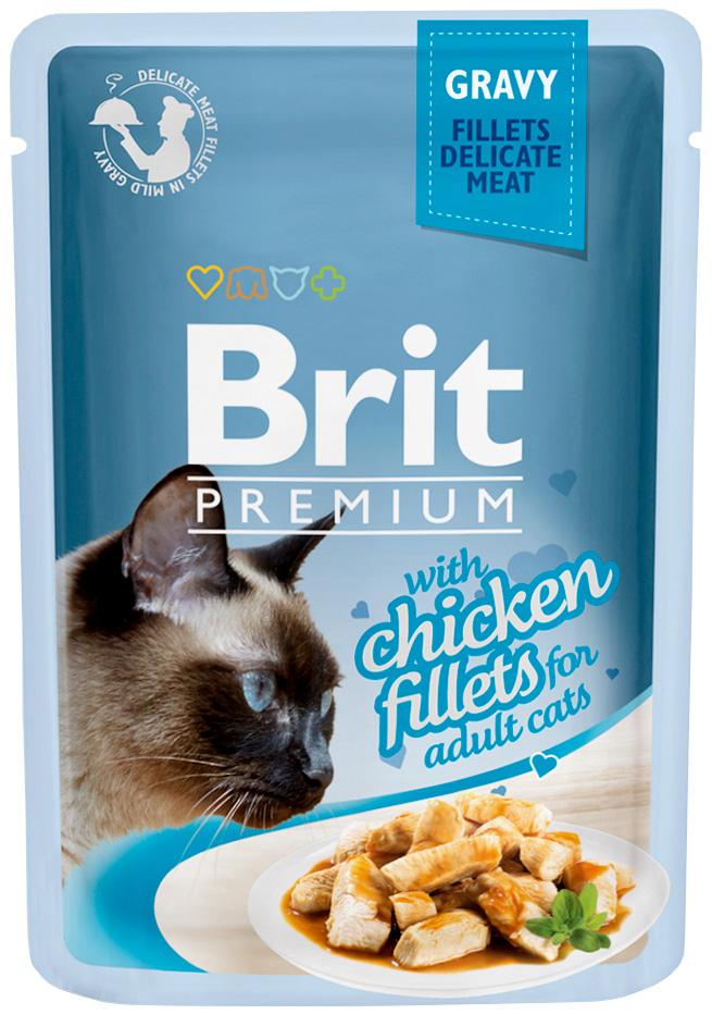 Brit Premium Cat Gravy Chicken Fillets для взрослых кошек кусочки филе курицы в соусе 85 гр (85 гр х 24 шт)