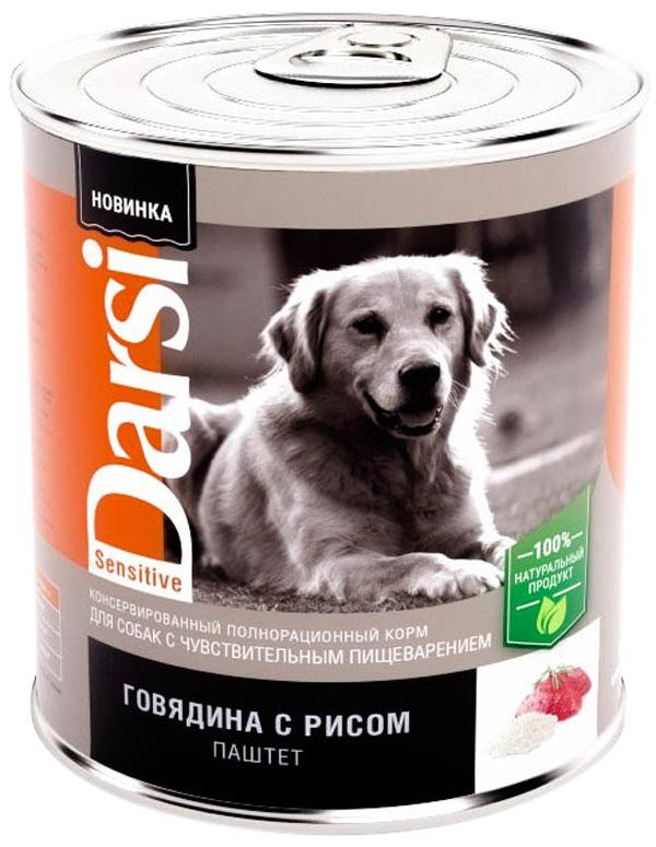 Darsi Sensitive Dog для взрослых собак с чувствительным пищеварением паштет с говядиной и рисом 850 гр (850 гр х 6 шт)