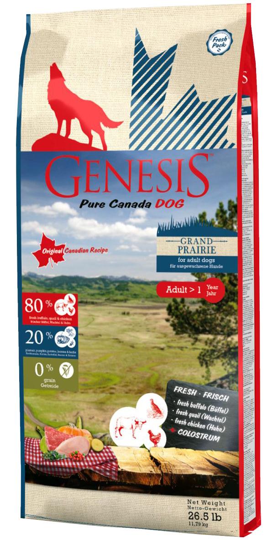 Genesis Pure Canada Grand Prairie Adult беззерновой для взрослых собак всех пород с буйволом, перепелами и курицей (2,268 кг)