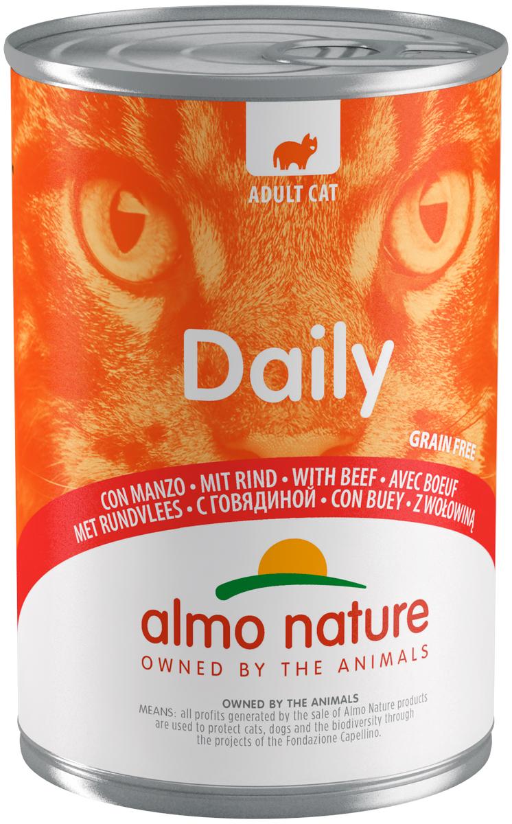 Almo Nature Cat Daily Menu беззерновые для взрослых кошек с говядиной  (400 гр х 12 шт).