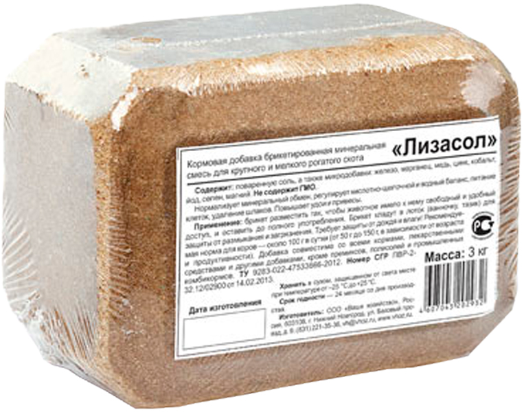 Добавка кормовая брикетированная минеральная для крупного и мелкого рогатого скота Ваше Хозяйство Лизасол 3 кг (1 шт) васильева с конопатов ю клиническая биохимия крупного рогатого скота