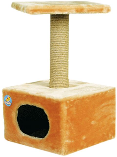 Дом для кошек большой Зооник бежевый мех 42 х 42 х 72 см  (1 шт)