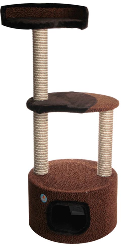 Дом для кошек круглый с 2 полками в форме капли Зооник коричневый велюр/мех 51 х 51 х 123 см (1 шт)