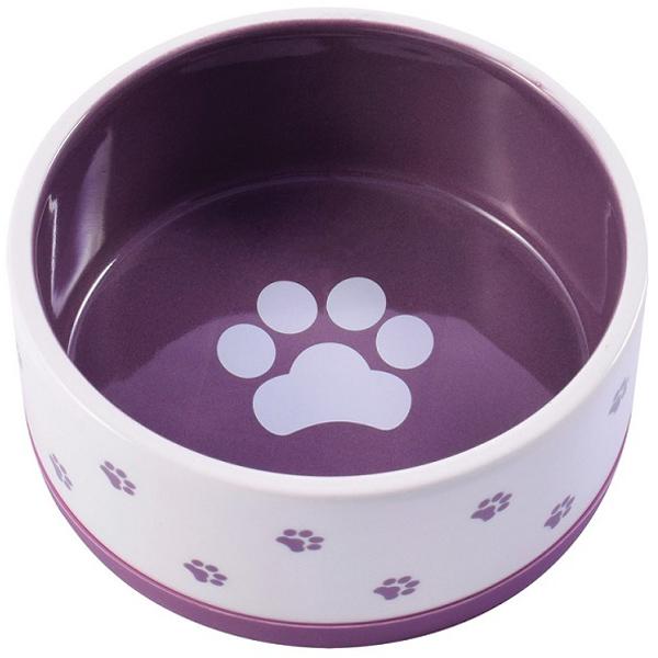 Керамическая миска КерамикАрт нескользящая с фиолетовым дном (0,36 л)