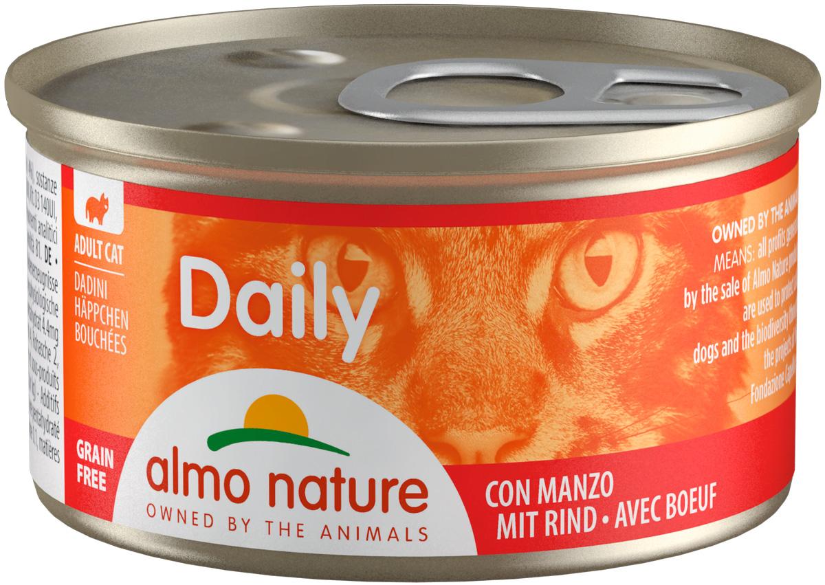 Almo Nature Cat Daily Menu беззерновые для взрослых кошек кусочки с говядиной  (85 гр х 24 шт).