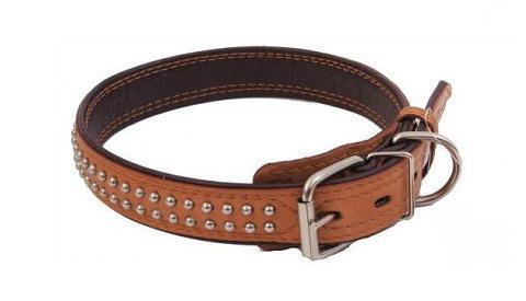 Ошейник для собак кожаный с фурнитурой рыжий шир. 20 мм ZooMaster (40 см) шлейка с нашивками для собак 2 стропа 50 мм с металлической пряжкой zoomaster 1 шт