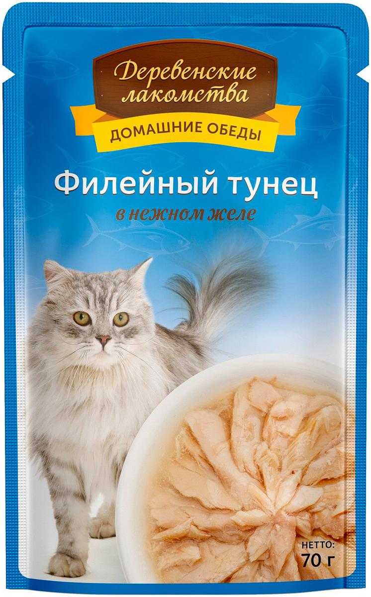 Деревенские лакомства домашние обеды для взрослых кошек с филейным тунцом в нежном желе 70 гр (70 гр) фото