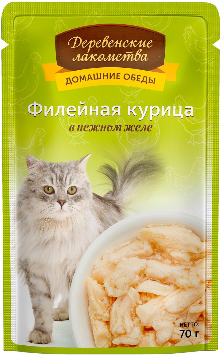 деревенские лакомства домашние обеды для взрослых кошек с филейной курицей в нежном желе (70 гр х 12 шт)