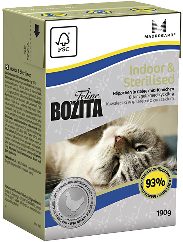 Bozita Function Indoor & Sterilised In Jelly Chicken для стерилизованных кошек и кошек живущих дома с курицей в желе 190 гр (190 гр) bozita mini canned food for cats pieces in jelly poultry 6 190 g