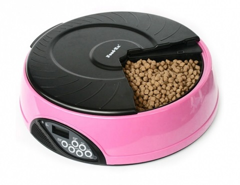 Автоматическая кормушка для кошек и собак на 4 кормления с ЖК-дисплеем Feed-Ex розовая (1 шт).