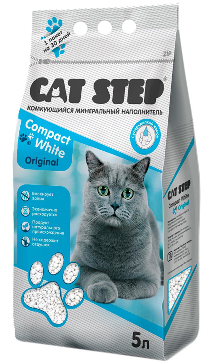 Фото - Cat Step Compact White Original наполнитель комкующийся для туалета кошек (5 л) комкующийся наполнитель цап царап антимикробный 5 л