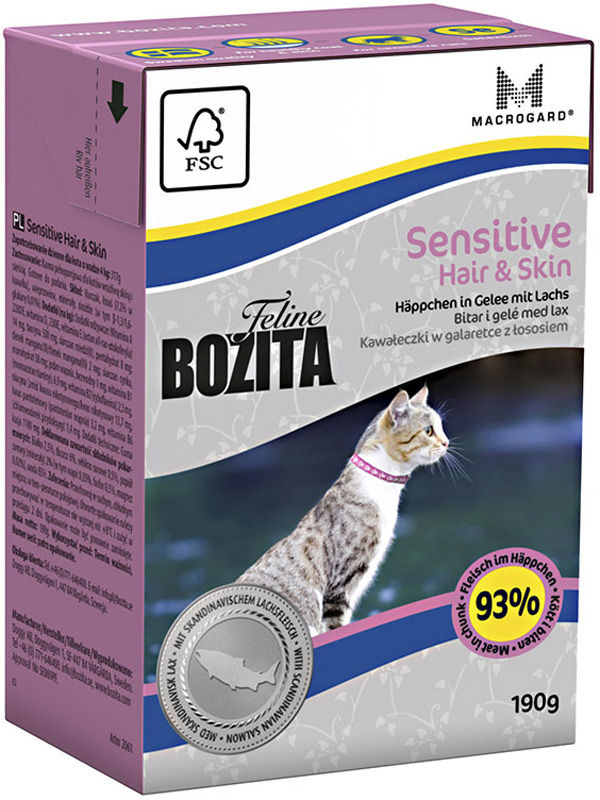 Bozita Function Sensitive Hair & Skin In Jelly Salmon для взрослых кошек при аллергии с лососем в желе 190 гр (190 гр) bozita mini canned food for cats pieces in jelly poultry 6 190 g