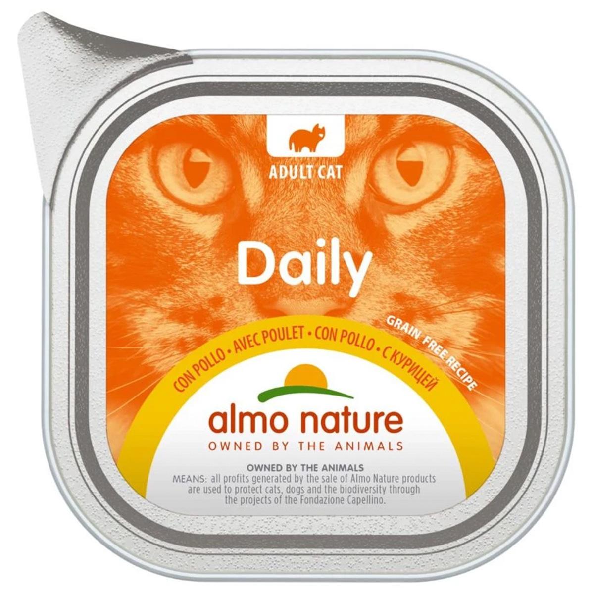 Almo Nature Cat Daily Menu беззерновые для взрослых кошек паштет с курицей (100 гр х 32 шт).