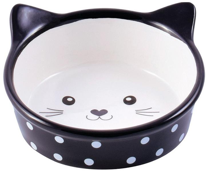 Керамическая миска КерамикАрт Мордочка кошки черная (0,25 л)