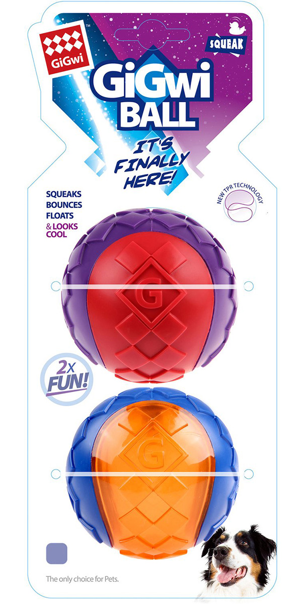 Игрушка для собак GiGwi Ball два мяча с пищалкой 8 см (1 шт)
