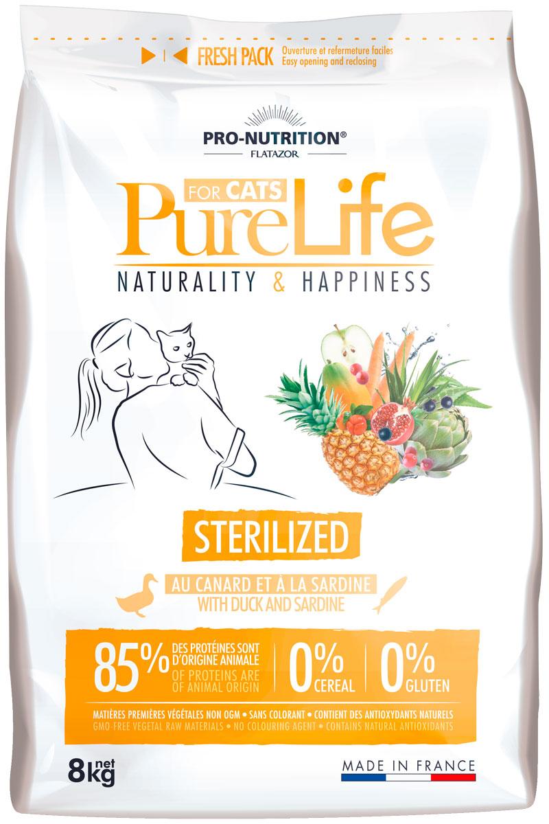 Flatazor Pure Life Adult Sterilised для взрослых кастрированных котов и стерилизованных кошек (8 кг) фото