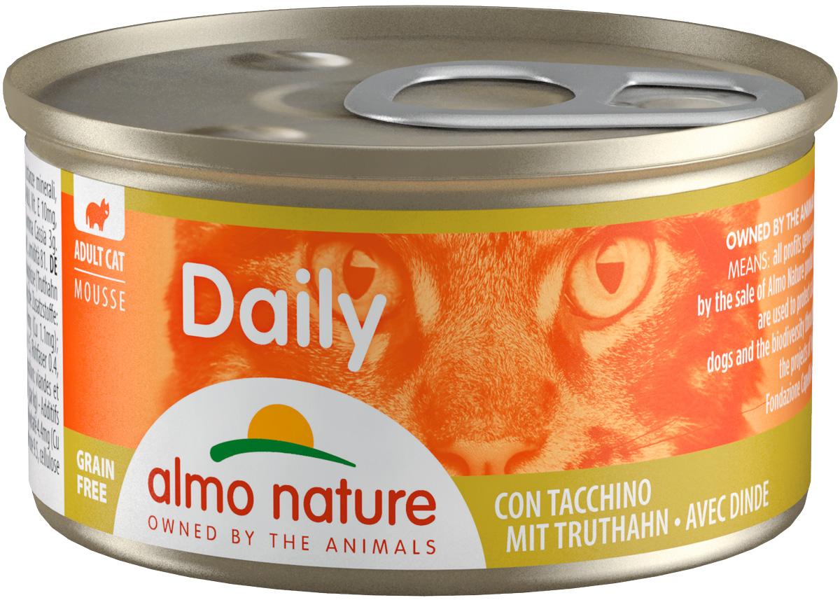 Almo Nature Cat Daily Menu для взрослых кошек нежный мусс с индейкой 85 гр (85 гр)