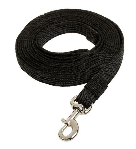 Поводок для собак 15 мм капроновый с латексной нитью черный 3 м Зооник (1 шт)