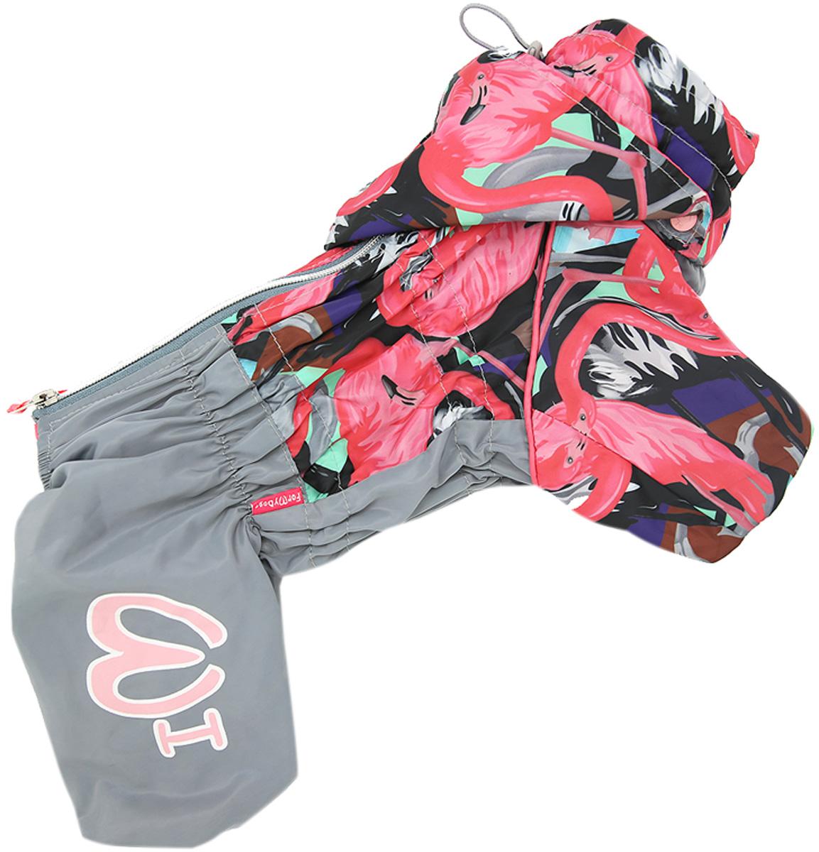 Фото - For My Dogs дождевик для собак Фламинго серо/розовый для девочек 422ss-2020 F (22) for my dogs дождевик для собак листья бордовый для девочек 341ss 2018 f 22