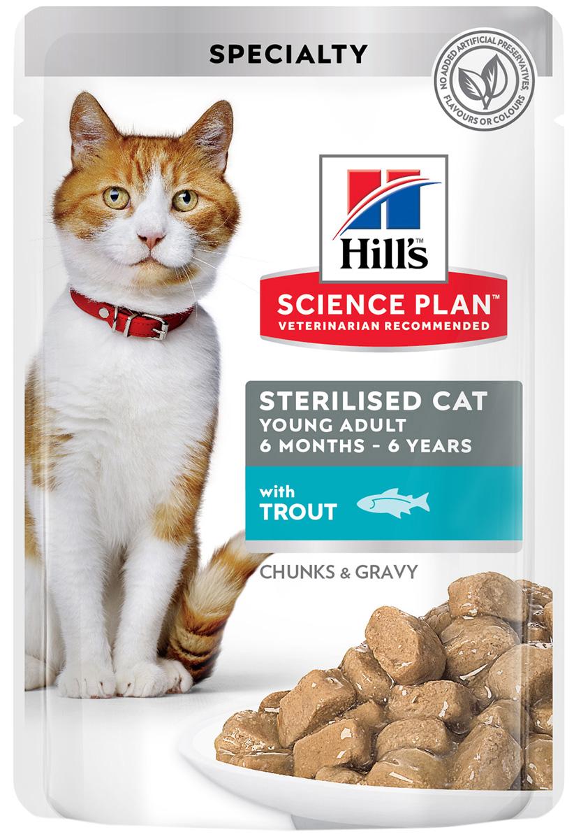Hill's Science Plan Young Adult Sterilised Cat Trout для взрослых кастрированных котов и стерилизованных кошек с форелью в соусе (85 гр) hill's science plan young adult sterilised cat salmon для взрослых кастрированных котов и стерилизованных кошек с лососем в соусе 85 гр