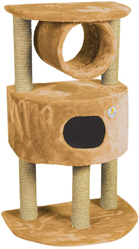 Дом для кошек полукруглый на 3 когтеточках Зооник бежевый мех 63 х 44 х 100 см (1 шт)