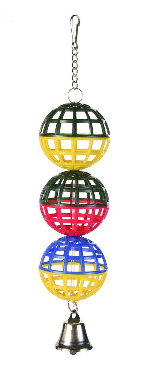 Фото - Игрушка для птиц Trixie Пластиковые шары с колокольчиком 3 х 5 см (1 шт) trixie кубик trixie для птиц с зеркалом и колокольчиком 8 см пластмассовый
